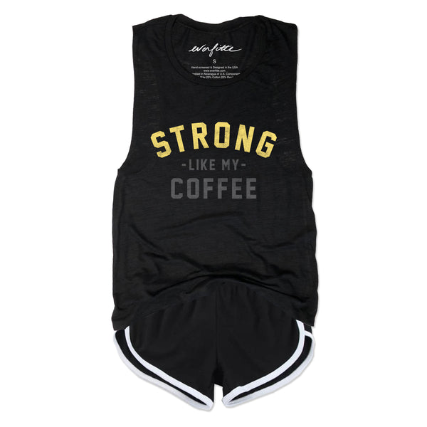 STRONG Like My Coffee ... Funny Triblend Black Muscle Tee