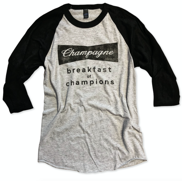 Baseball Tee Blowout!! Champagne Breakfast of Champions ... Unisex Baseball Raglan Tee-Everfitte-[funny family shirt]-[drinking shirts]-[bachelor shirt]-[bachelorette party tees]-[bridal party shirt]-[bridal party tee]-[group drinking tees]-[funny vodka shirt]-[funny tequila tee]-[funny tequila tshirt]-[funny whiskey tshirt]-[funny drinking shirt]-[tequila t-shirt]-[vodka t-shirt]-[whiskey t-shirt]-Everfitte