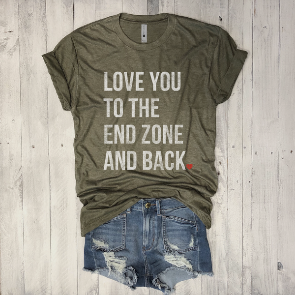 Love You to the End Zone and Back...Football Unisex Army Triblend Tee