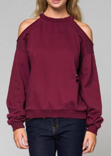 Slouchy Distressed Wine Cut-out Sweatshirt