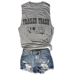 TRAILER TRASH ... Heather Grey Unisex Triblend Raw Edge Muscle-Everfitte-[lululemon]-[chaser]-[athleta]-[spirtual gangster]-[champion]-[graphic tee]-[gym shirt]-[workout tee]-[funny shirt]-[funny tee]-[muscle tee]-Everfitte