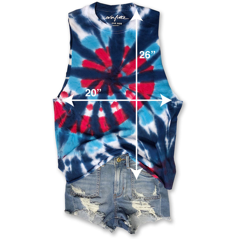 SALE!! Lake It Easy ....Tie Dye, Raw Edge, Cotton Muscle Tee - ONE SIZE