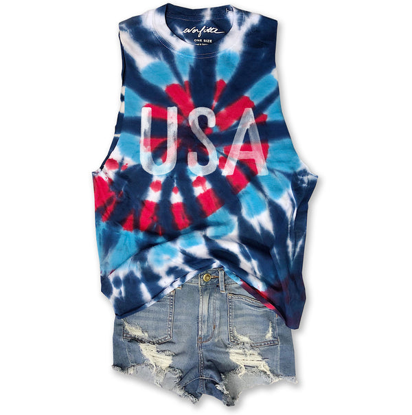 Watercolor USA ... Red White & Blue Tie Dye, Raw Edge, Cotton Muscle Tee - ONE SIZE