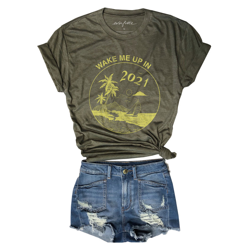 Wake Me Up In 2021 ...Unisex Army Triblend Tee