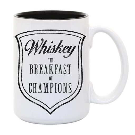 Whiskey Breakfast of Champions... Everfitte Funny Ceramic Two Tone Mug