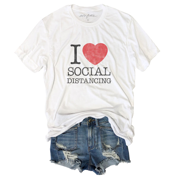 I Heart Social Distancing ... Retro 80's Funny Unisex Triblend Tee-Everfitte-[drinking shirt]-[alcohol shirt]-[bachelorette party]-[bridal party]-[funny shirt]-[funny tee]-[shirt with words]-[coffee in the shower]-[lululemon]-[chaser]-Everfitte