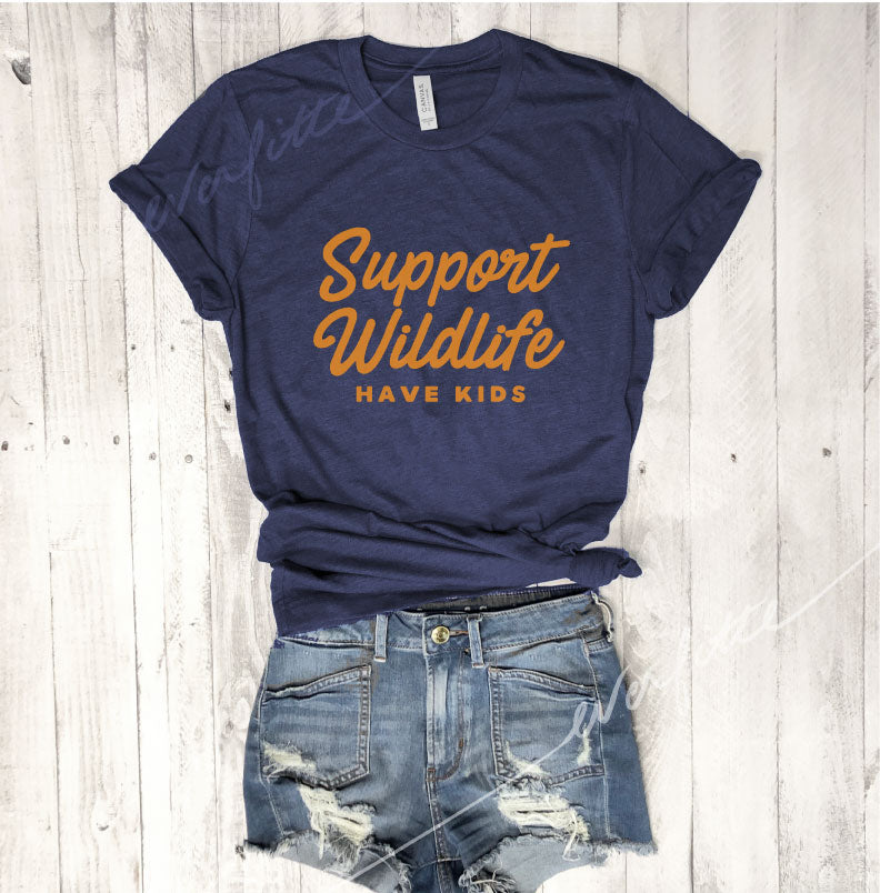 SALE!  Support Wildlife Have Kids...Unisex Navy Triblend Tee