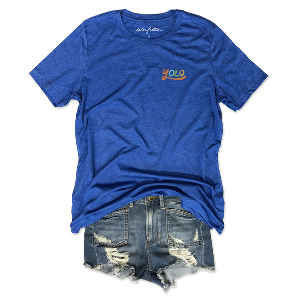 Sale!! YOLO ... Women's Relaxed Slouchy Retro Royal Tee