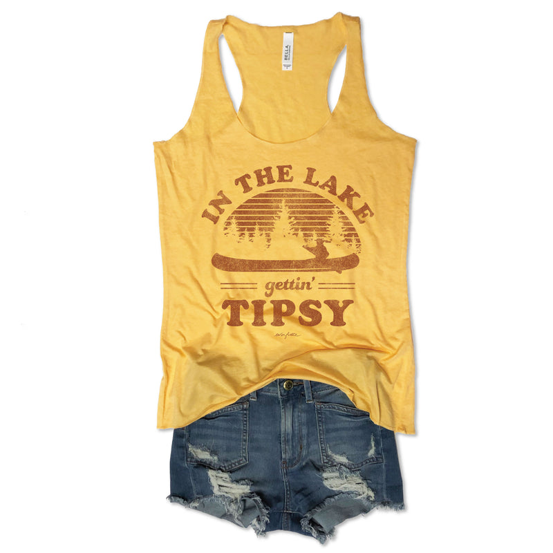 LIMITED! In The Lake Gettin' Tipsy Yellow Tank-Everfitte-Everfitte