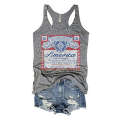 merica, American tank, American Racerback tank, racerback tank, tank top, red white and blue tank, budweiser tank, retro budweiser tank, 4th of July, star spangled, america, eagle, Muscle tank, Metalica, concert tee, red white blue, vintage tee, retro t-shirt, vintage design, graphic tee, workout tee