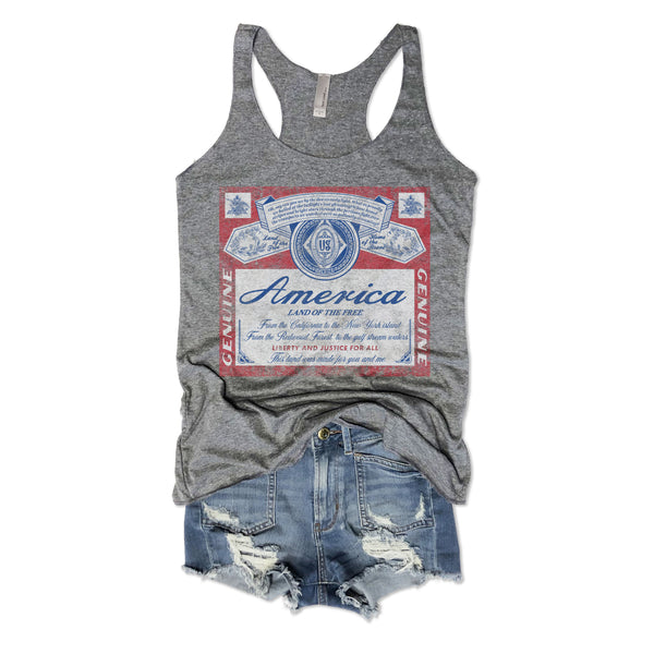 America Beer Inspired Tank...Grey Triblend Racerback Tank-Everfitte-[maga]-[usa]-[patriot]-[patriotic tee]-[funny usa shirt]-[4th of July]-[July 4th]-[american flag shirt]-[trump tshirt]-[trump rally shirt]-[tea party shirt]-[funny political shirt]-[biden shirt]-[liberal tshirt]-[republican tshirt]-Everfitte