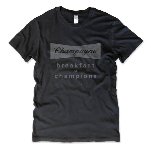 Champagne Breakfast of Champions ... Women's Cotton Distressed Edge Vintage Tee-Everfitte-[funny family shirt]-[drinking shirts]-[bachelor shirt]-[bachelorette party tees]-[bridal party shirt]-[bridal party tee]-[group drinking tees]-[funny vodka shirt]-[funny tequila tee]-[funny tequila tshirt]-[funny whiskey tshirt]-[funny drinking shirt]-[tequila t-shirt]-[vodka t-shirt]-[whiskey t-shirt]-Everfitte