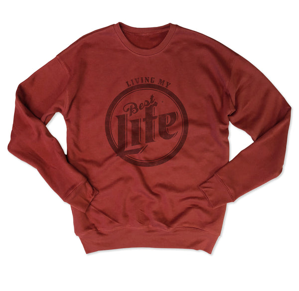 SALE! Living My Best Life...Brick Drop Shoulder Crew Neck Sweatshirt