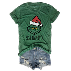 Best Year Ever  ... Funny Green Unisex Holiday Triblend Tee