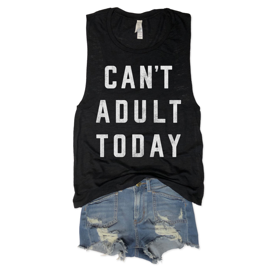 Can't Adult Today Black Slub Muscle Tee