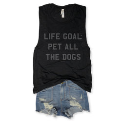 SALE! Life Goal Pet All The Dogs Black Slub Muscle Tee