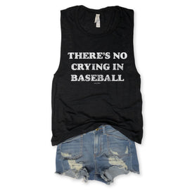 There's No Crying in Baseball Black Slub Muscle Tee