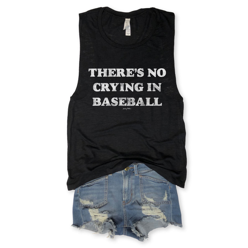 SALE... There's No Crying in Baseball Black Slub Muscle Tee