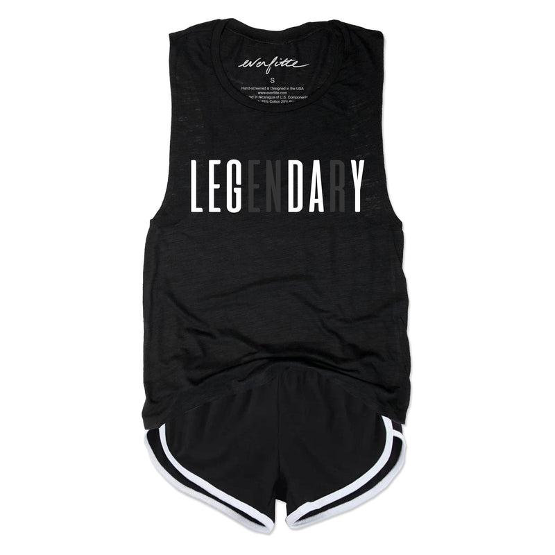 LEG DAY LEGENDARY ... Black Slub Gym Muscle Tee-Everfitte-[lululemon]-[chaser]-[athleta]-[spirtual gangster]-[champion]-[graphic tee]-[gym shirt]-[workout tee]-[funny shirt]-[funny tee]-[muscle tee]-Everfitte