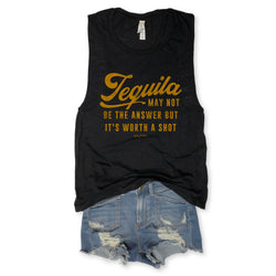 Tequila Black May Not Be The Answer Black Slub Muscle Tee-Everfitte-Everfitte