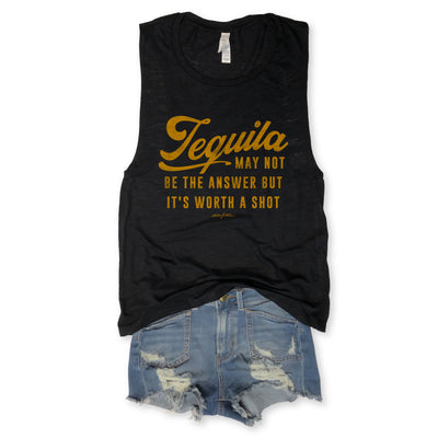 Tequila Black May Not Be The Answer Black Slub Muscle Tee