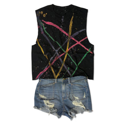 Black Retro 80s Splatter Paint, Raw Edge, Cotton Mid-Crop Muscle Tee-Everfitte-[lululemon]-[chaser]-[athleta]-[spirtual gangster]-[champion]-[graphic tee]-[gym shirt]-[workout tee]-[funny shirt]-[funny tee]-[muscle tee]-Everfitte
