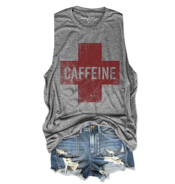 Caffeine Cross ... Heather Grey Unisex Triblend Raw Edge Muscle-Everfitte-[drinking shirt]-[alcohol shirt]-[bachelorette party]-[bridal party]-[funny shirt]-[funny tee]-[shirt with words]-[coffee in the shower]-[lululemon]-[chaser]-Everfitte