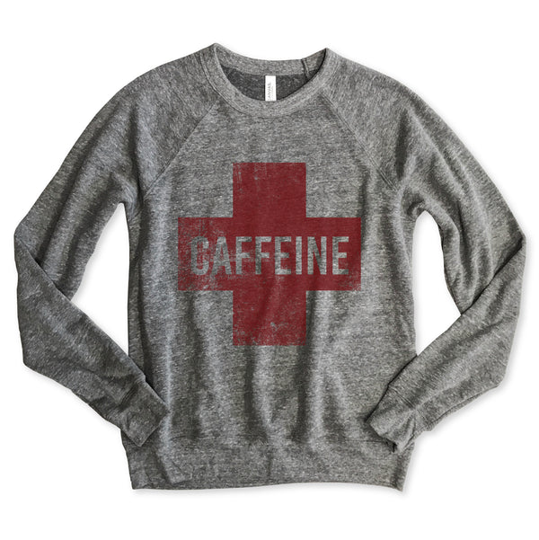Caffeine Cross ...Unisex Heather Grey Raglan Sweatshirt-New-Everfitte-[funny family shirt]-[drinking shirts]-[bachelor shirt]-[bachelorette party tees]-[bridal party shirt]-[bridal party tee]-[group drinking tees]-[funny vodka shirt]-[funny tequila tee]-[funny tequila tshirt]-[funny whiskey tshirt]-[funny drinking shirt]-[tequila t-shirt]-[vodka t-shirt]-[whiskey t-shirt]-Everfitte