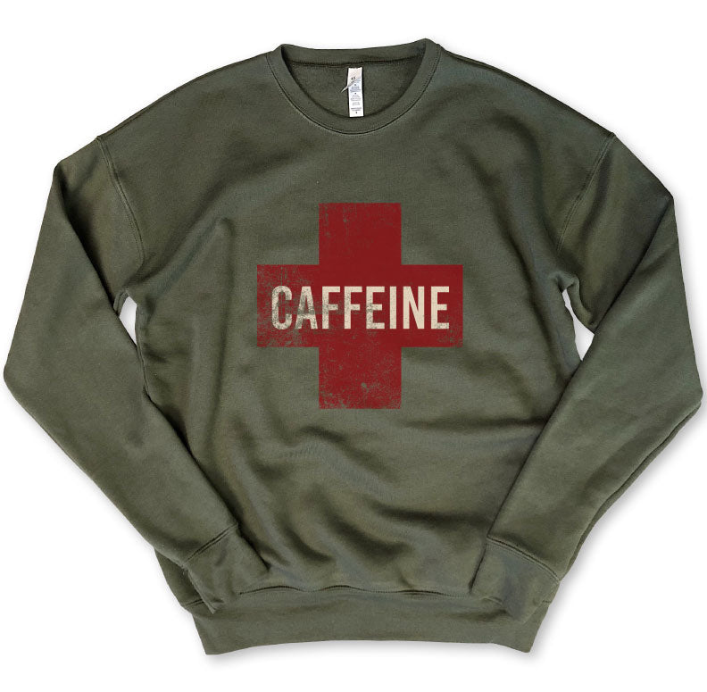 CAFFEINE CROSS ... Army Drop Shoulder Crew Neck Sweatshirt-Everfitte-[funny family shirt]-[drinking shirts]-[bachelor shirt]-[bachelorette party tees]-[bridal party shirt]-[bridal party tee]-[group drinking tees]-[funny vodka shirt]-[funny tequila tee]-[funny tequila tshirt]-[funny whiskey tshirt]-[funny drinking shirt]-[tequila t-shirt]-[vodka t-shirt]-[whiskey t-shirt]-Everfitte