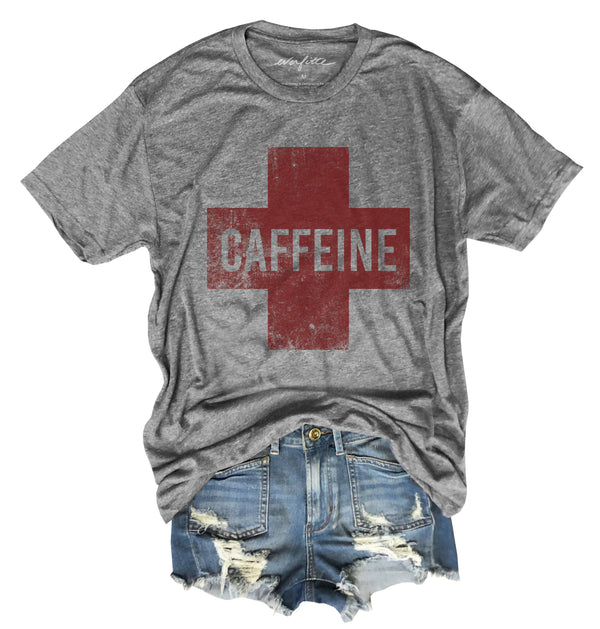 Caffeine Cross ... Heather Grey Unisex Triblend Raw Edge Tee-Everfitte-[funny family shirt]-[drinking shirts]-[bachelor shirt]-[bachelorette party tees]-[bridal party shirt]-[bridal party tee]-[group drinking tees]-[funny vodka shirt]-[funny tequila tee]-[funny tequila tshirt]-[funny whiskey tshirt]-[funny drinking shirt]-[tequila t-shirt]-[vodka t-shirt]-[whiskey t-shirt]-Everfitte