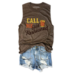 Call Me Old Fashioned ... Funny Unisex Super Soft Triblend Raw Edge Muscle Tee-Everfitte-[drinking shirt]-[alcohol shirt]-[bachelorette party]-[bridal party]-[funny shirt]-[funny tee]-[shirt with words]-[coffee in the shower]-[lululemon]-[chaser]-Everfitte