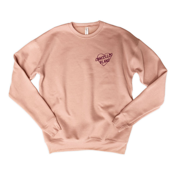Cancelled Plans ... Peach Drop Shoulder Crew Neck Sweatshirt