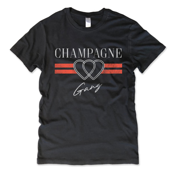 Champagne Gang ... Women's Cotton Distressed Edge Vintage Tee-Everfitte-[drinking shirt]-[alcohol shirt]-[bachelorette party]-[bridal party]-[funny shirt]-[funny tee]-[shirt with words]-[coffee in the shower]-[lululemon]-[chaser]-Everfitte