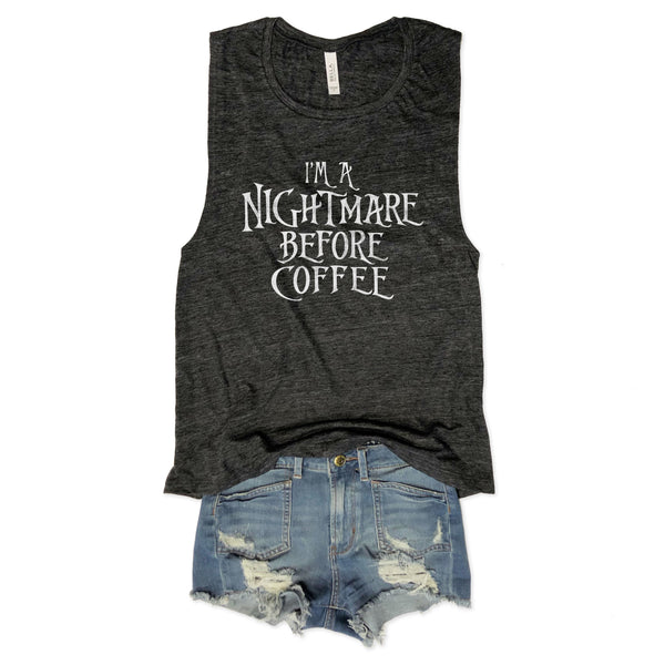 I'm A Nightmare Before Coffee... Charcoal Muscle Tee-Everfitte-Everfitte