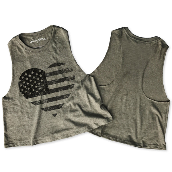 Limited: Distressed Heart Flag ... Army Triblend Raw Edge Crop Tank-Everfitte-[maga]-[usa]-[patriot]-[patriotic tee]-[funny usa shirt]-[4th of July]-[July 4th]-[american flag shirt]-[trump tshirt]-[trump rally shirt]-[tea party shirt]-[funny political shirt]-[biden shirt]-[liberal tshirt]-[republican tshirt]-Everfitte
