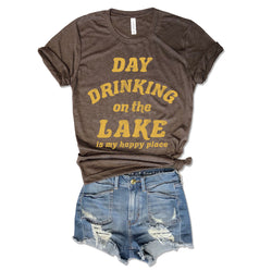 Day Drinking on the Lake is my Happy Place ... Funny Unisex Brown Triblend Tee-Everfitte-Everfitte