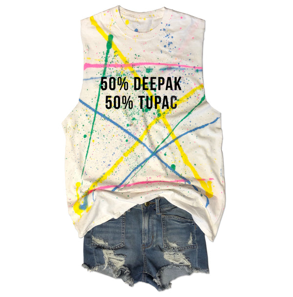 50% DEEPAK 50% TUPAC ... Retro 80s Splatter Paint, Raw Edge, Cotton Muscle Tee-Everfitte-[lululemon]-[chaser]-[athleta]-[spirtual gangster]-[champion]-[graphic tee]-[gym shirt]-[workout tee]-[funny shirt]-[funny tee]-[muscle tee]-Everfitte