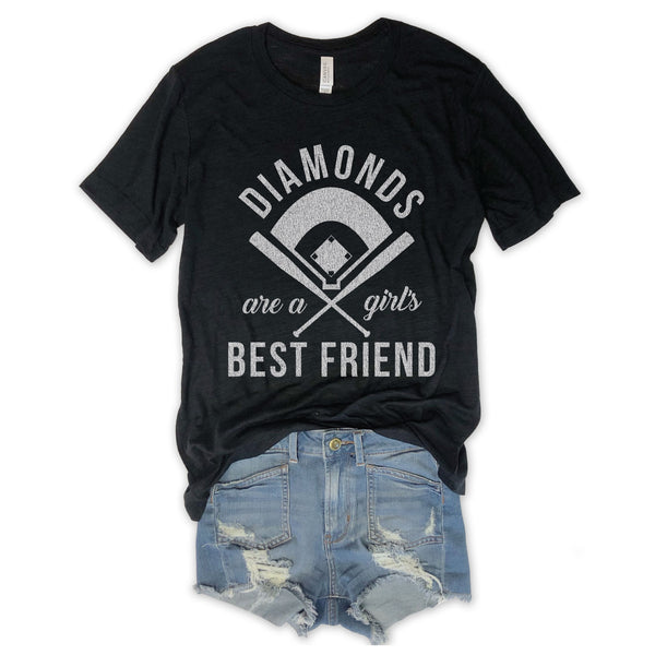 LIMITED: BASEBALL Diamonds Are A Girl's Best Friend Black Unisex Triblend Tee