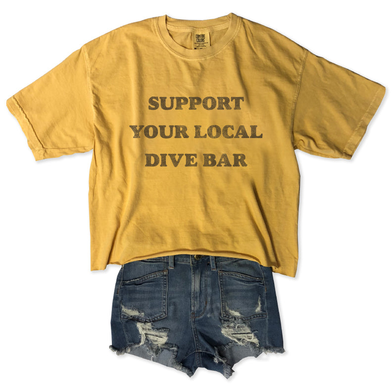 Support Your Local Dive Bar ... Slouchy Cotton Long-crop Tee-Everfitte-[funny family shirt]-[drinking shirts]-[bachelor shirt]-[bachelorette party tees]-[bridal party shirt]-[bridal party tee]-[group drinking tees]-[funny vodka shirt]-[funny tequila tee]-[funny tequila tshirt]-[funny whiskey tshirt]-[funny drinking shirt]-[tequila t-shirt]-[vodka t-shirt]-[whiskey t-shirt]-Everfitte