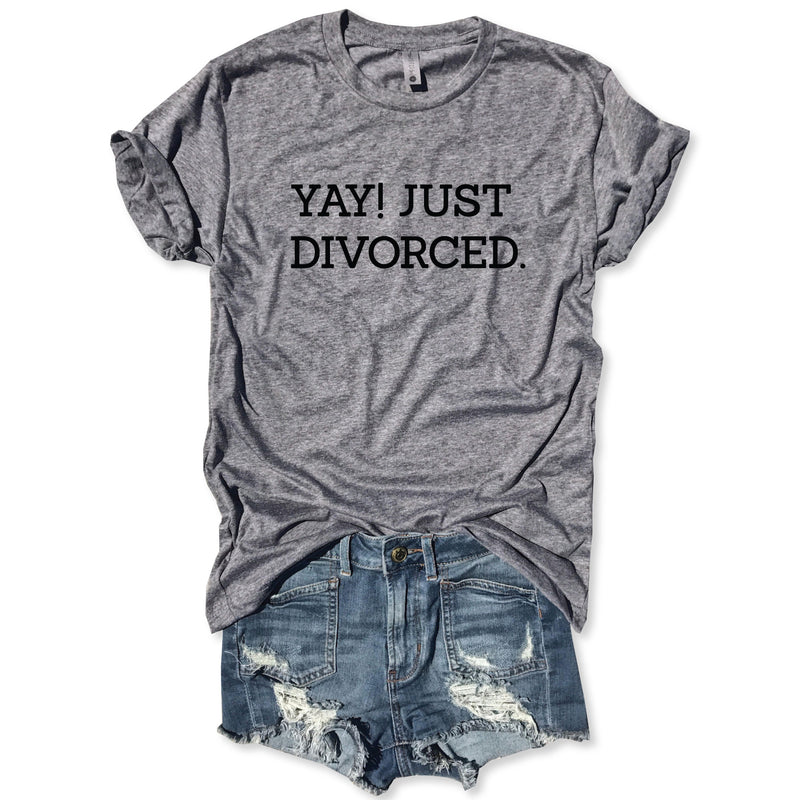 Yay. Just Divorced ... Funny Holiday Heather Grey Unisex Tee