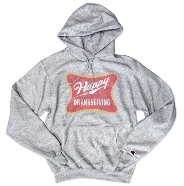 Happy Dranksgiving ... Thanksgiving Heather Grey Unisex Super Cozy Hooded Champion Brand Sweatshirt