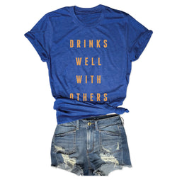 SALE! Drinks Well With Others ... Funny Drinking Unisex Blue Triblend Tee