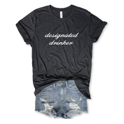 Designated Drinker...Funny Unisex Charcoal Triblend Tee-Everfitte-Everfitte