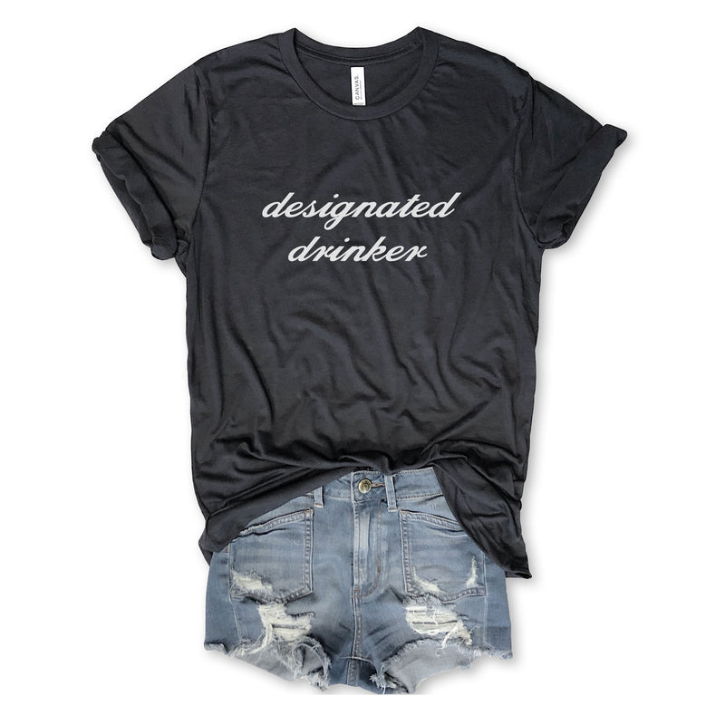 Designated Drinker...Funny Unisex Charcoal Triblend Tee