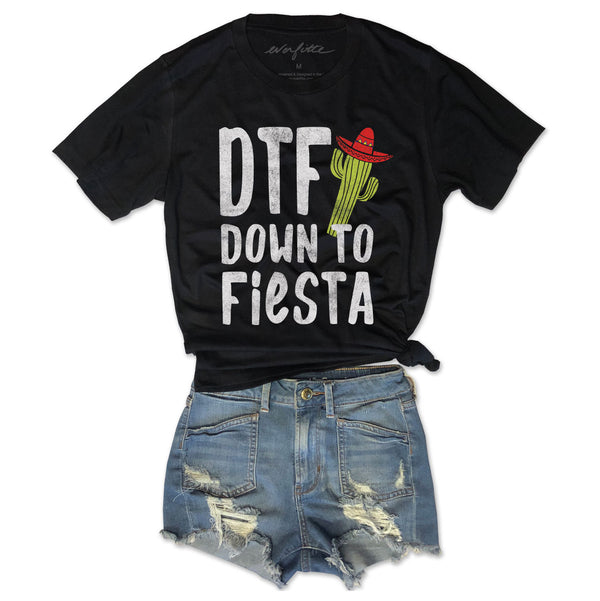 DTF Down To Fiesta ... Funny Unisex Black Triblend Tee-Everfitte-[funny family shirt]-[drinking shirts]-[bachelor shirt]-[bachelorette party tees]-[bridal party shirt]-[bridal party tee]-[group drinking tees]-[funny vodka shirt]-[funny tequila tee]-[funny tequila tshirt]-[funny whiskey tshirt]-[funny drinking shirt]-[tequila t-shirt]-[vodka t-shirt]-[whiskey t-shirt]-Everfitte