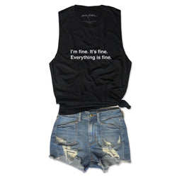 I'm fine. It's fine. Everything is fine. ... Funny Unisex Super Soft Triblend Raw Edge Muscle Tee-Everfitte-[funny family shirt]-[drinking shirts]-[bachelor shirt]-[bachelorette party tees]-[bridal party shirt]-[bridal party tee]-[group drinking tees]-[funny vodka shirt]-[funny tequila tee]-[funny tequila tshirt]-[funny whiskey tshirt]-[funny drinking shirt]-[tequila t-shirt]-[vodka t-shirt]-[whiskey t-shirt]-Everfitte
