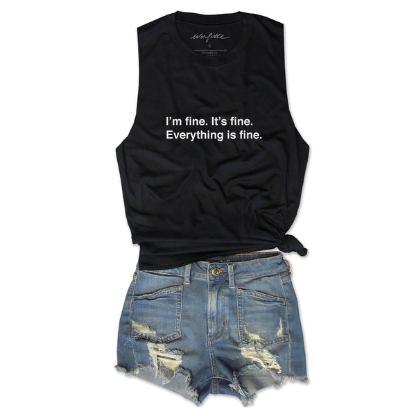 I'm fine. It's fine. Everything is fine. ... Funny Unisex Super Soft Triblend Raw Edge Muscle Tee-Everfitte-[drinking shirt]-[alcohol shirt]-[bachelorette party]-[bridal party]-[funny shirt]-[funny tee]-[shirt with words]-[coffee in the shower]-[lululemon]-[chaser]-Everfitte