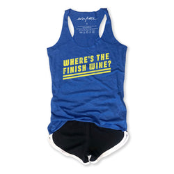SALE! Where's the Finish Wine ... Royal Triblend Racerback Running Tank