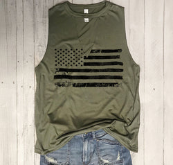 USA Distressed Flag Army Choker Neck Muscle Tee