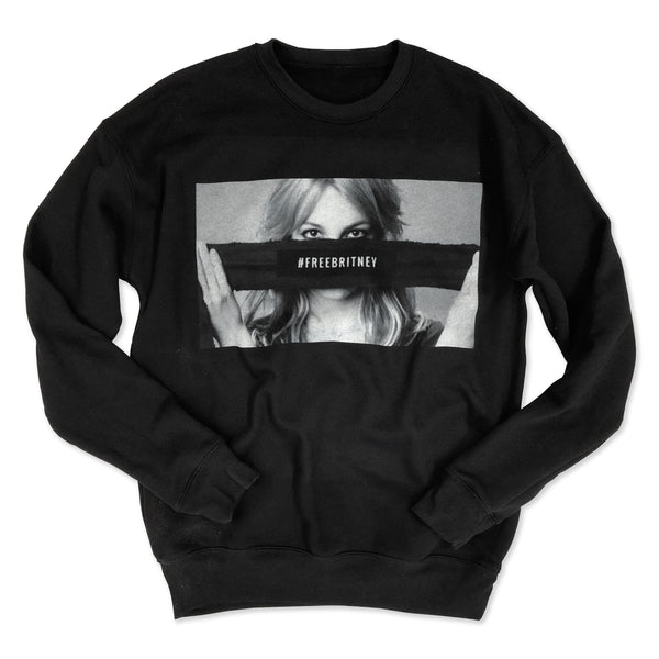 LIMITED! Free Britney ... Black Drop Shoulder Crew Neck Sweatshirt